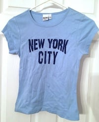 ACME SHIRT CO NYC SMALL BLUE T SHIRT NEW YORK CITY GLITTER LETTERING Broomall