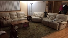 Tan leather tufted back 3-seat sofa, recliner chair, and loveseat sofa chair
