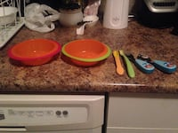 orange and green bowls and spoon with fork Edmonton, T6A 0A3