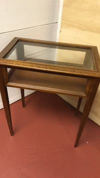 brown wooden framed glass top side table Hingham, 02043