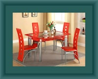 Glass red dining table with leather chairs Laurel