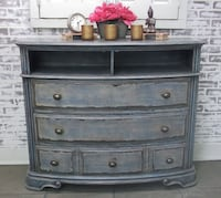 Media Stand Dresser, Weathered Blue Cottage Style, Shabby Farmhouse Chic Howell