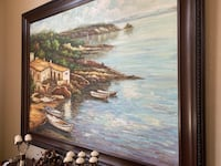 """Brown wooden framed painting 56"""" x 44"""" (of house near body of water) Highlands Ranch, 80129"""