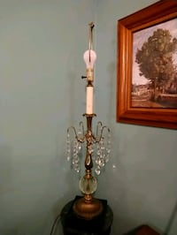 Tall French Brass Lamp with crystal