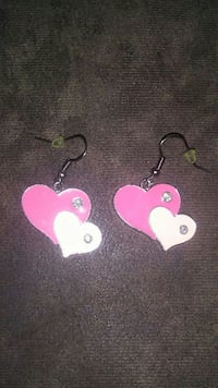 white-and-pink heart hook earrings