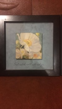 white Poppy flowers painting with black frame