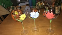 Three glasses with detailed flowers never used Taunton, 02780