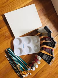 Artist Supplies: (Brushes, canvas, Paint, mixing palette, & Free Easel