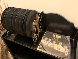 Vintage Metal 45 Vinyl Rack & Records