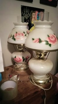 white and pink floral ceramic table lamp bases West Haven, 06516