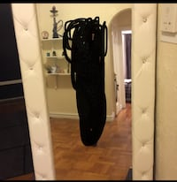 Crystal Tufted Modern white  leather floor mirror