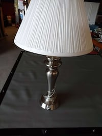 stainless steel base table lamp with white lampshade York, 17404