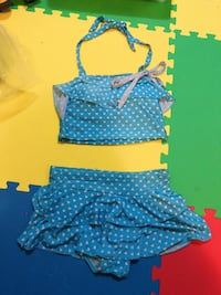 Used swimming suit size L blue dots