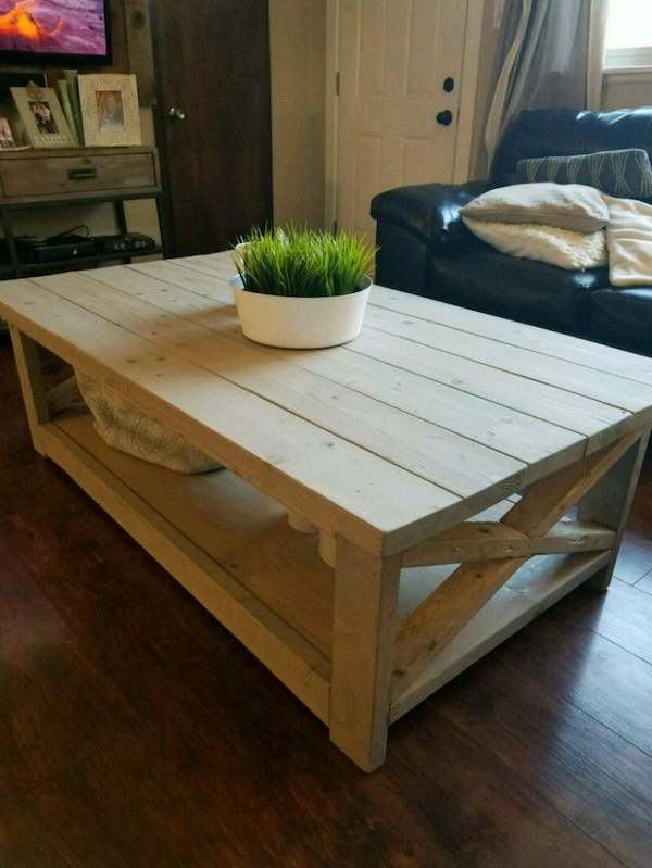 Used Rustic Coffee Table Grey And Pickled Oak Stain For Sale In
