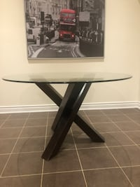 Modern Dining Table - Wooden Base & Circular Glass Surface! TORONTO