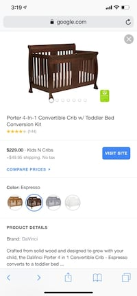DaVinci Porter Crib color espresso . Comes with all parts to convert into toddler bed and all paperwork . Also comes with brand new never slept in mattress! Has 4 minor scratches but was never used or slept in. MUST PICK UP WILL NOT DELIVER.  Annapolis, 21403