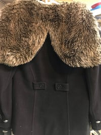 Aritzia Community small wool jacket with faux fur hood