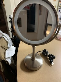 Double sided light-up vanity mirror