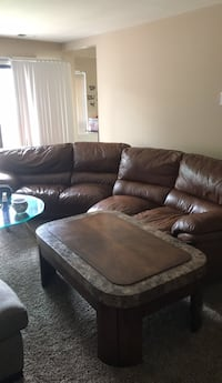 Brown leather sectional sofa with ottoman Gaithersburg, 20878