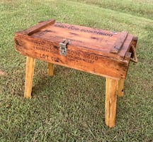 Old ammo crate accent side table