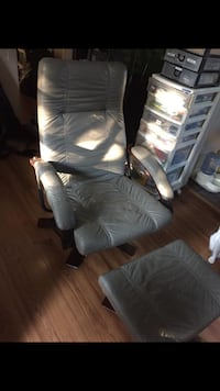Grey leather reclining chair & footstool Surrey, V3W 1T2