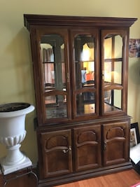 Brown wooden framed glass china cabinet Waldorf, 20603
