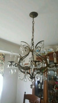 Antique brass and crystal uplight chandelier Scotch Plains, 07076