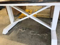 white wooden framed glass top table Kaufman