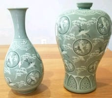 2 New Korean Celadon Vases Glaze Clouds Cranes