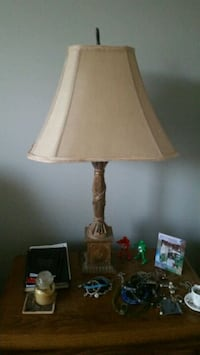 brown wooden base with white lampshade table lamp Cary, 27513