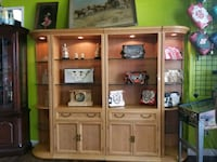 brown wooden TV hutch with flat screen television Fort Wayne, 46808