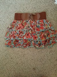 blue and red floral skirt