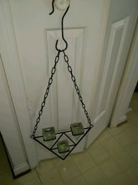 Heavy hanging metal and glass tea light holder Alexandria, 22315