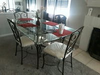 rectangular glass top table with six chairs dining set Houston, 77084