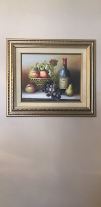 Hand painted fruit and wine painting. With gold frame Glen Burnie, 21061
