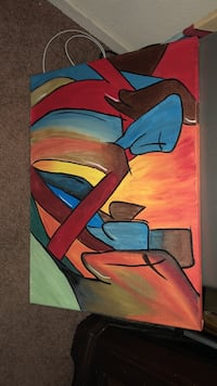 blue, red, and yellow abstract painting Tulare, 93274