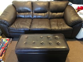 Faux Leather Loveseat and Ottoman