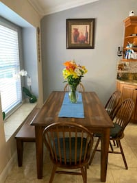 brown wooden dining table set Port St. Lucie