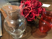 4 vases and faux roses Toronto, M9B 3W2