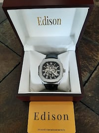 Edison Men's Automatic Skeleton Leather Watch Toronto