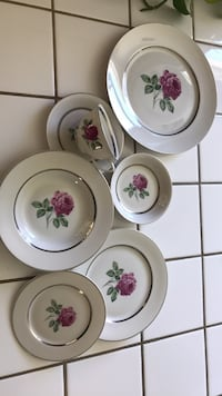 white and pink floral ceramic dinnerware set Torrance, 90503
