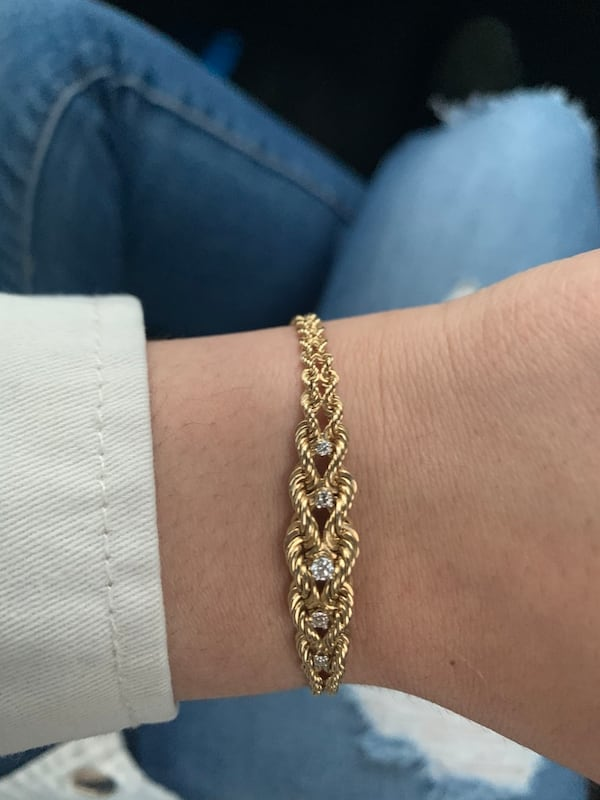 14k Gold 5 Diamond Bracelet 4