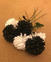 Tall black and white flowers decor