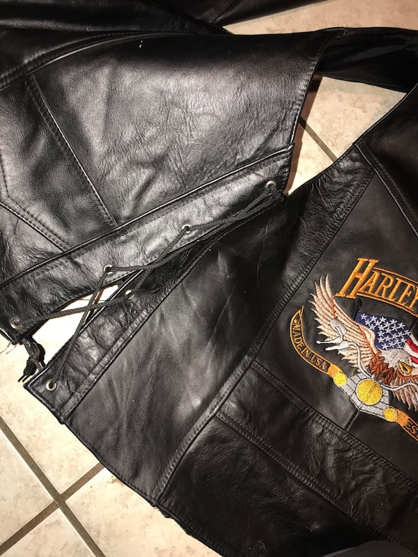 Leather vest men's large