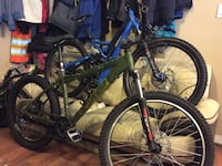 green hardtail and blue full-suspension bikes Surrey, V3V 5Y7