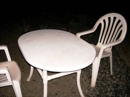 Solid white table, 2 matching high back chairs