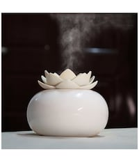 Ceramic Aromatherapy Essential Oil Diffuser, Lotus Flower Humidifier Portable for Office, USB Auto Shut-off Intermittent 8 Hours Work Air Purifier(White-White) Monterey Park, 91754