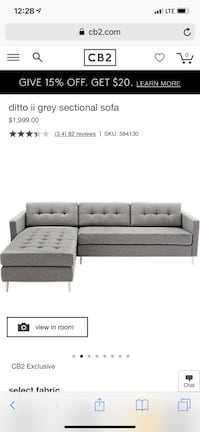 Beautiful CB2 Gray Tufted Couch Alexandria, 22311