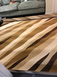 white, black, and brown stripe area rug Mississauga