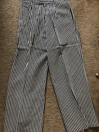 Blue and white striped pants with high waist